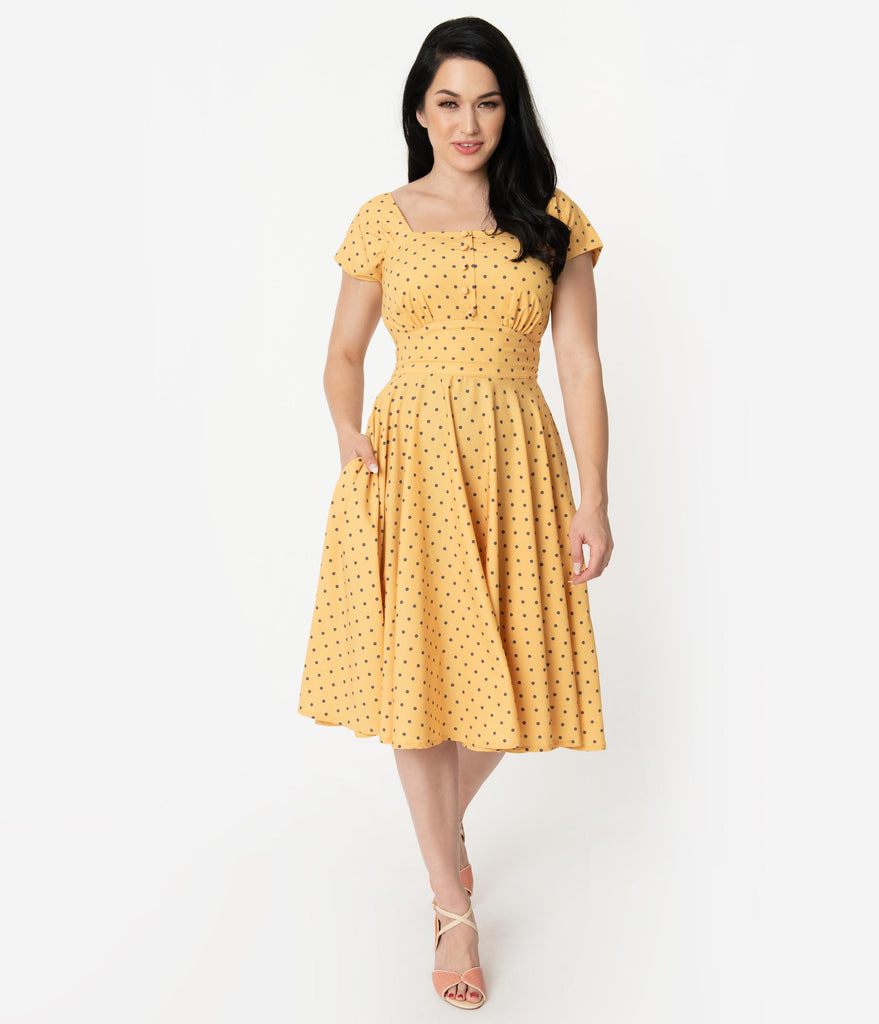 1940s Style Yellow & Grey Polka Dot Cap Sleeve Zafira Swing Dress