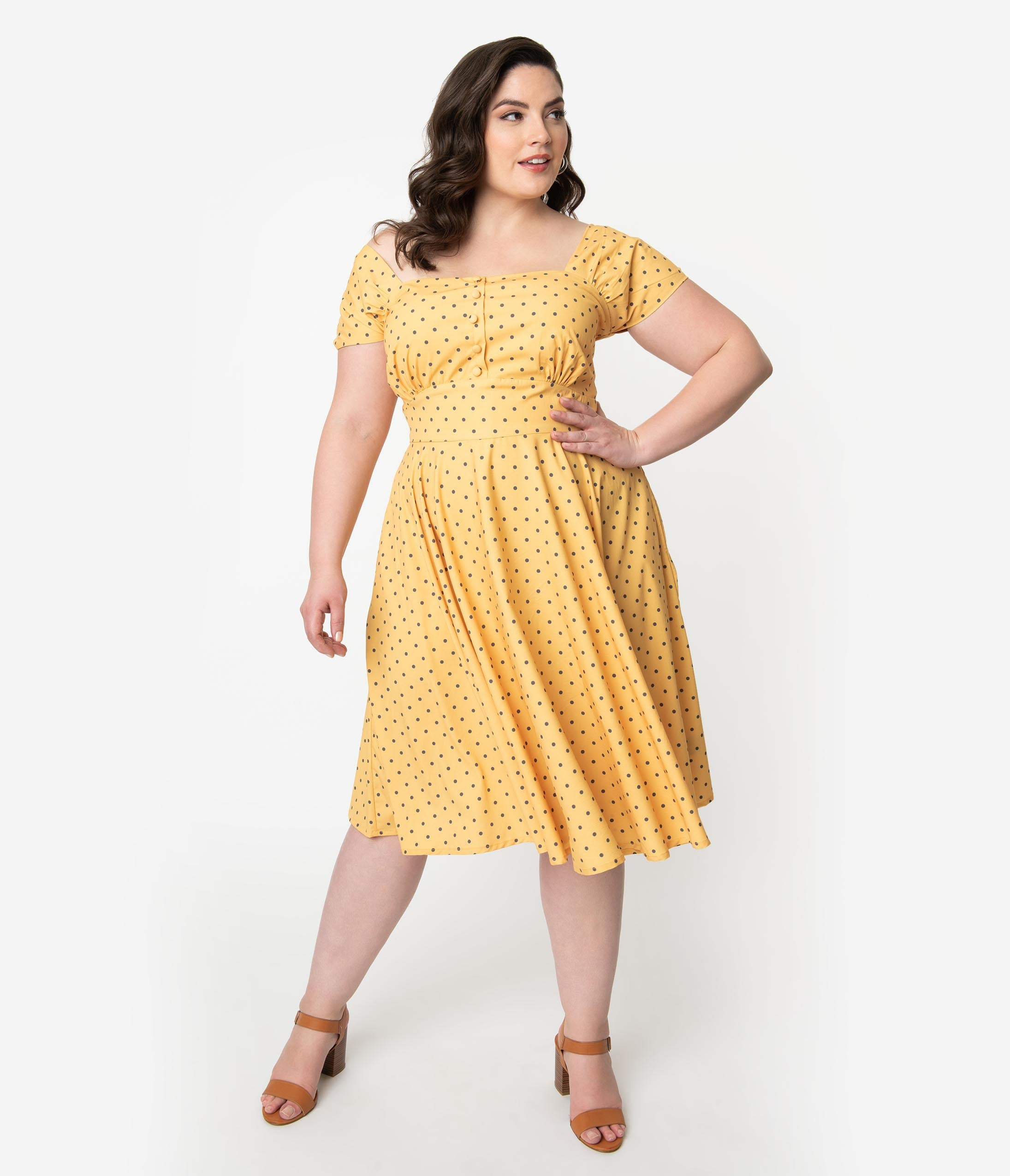 1940s Plus Size Clothing: Dresses History Plus Size 1940S Style Yellow  Grey Polka Dot Cap Sleeve Zafira Swing Dress $72.00 AT vintagedancer.com