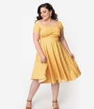 Plus Size 1940s Style Yellow & Grey Polka Dot Cap Sleeve Zafira Swing Dress