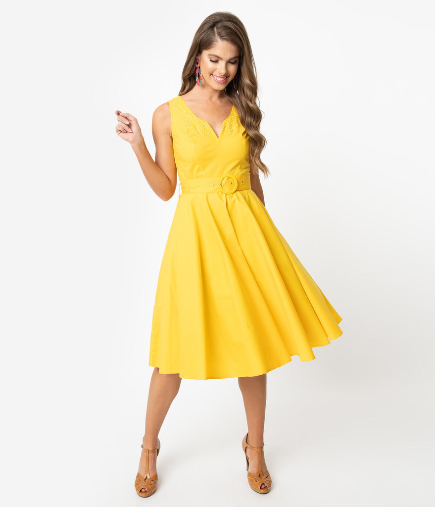 97ed971d8 Vintage Style Yellow Sleeveless Samantha Swing Dress – Unique Vintage
