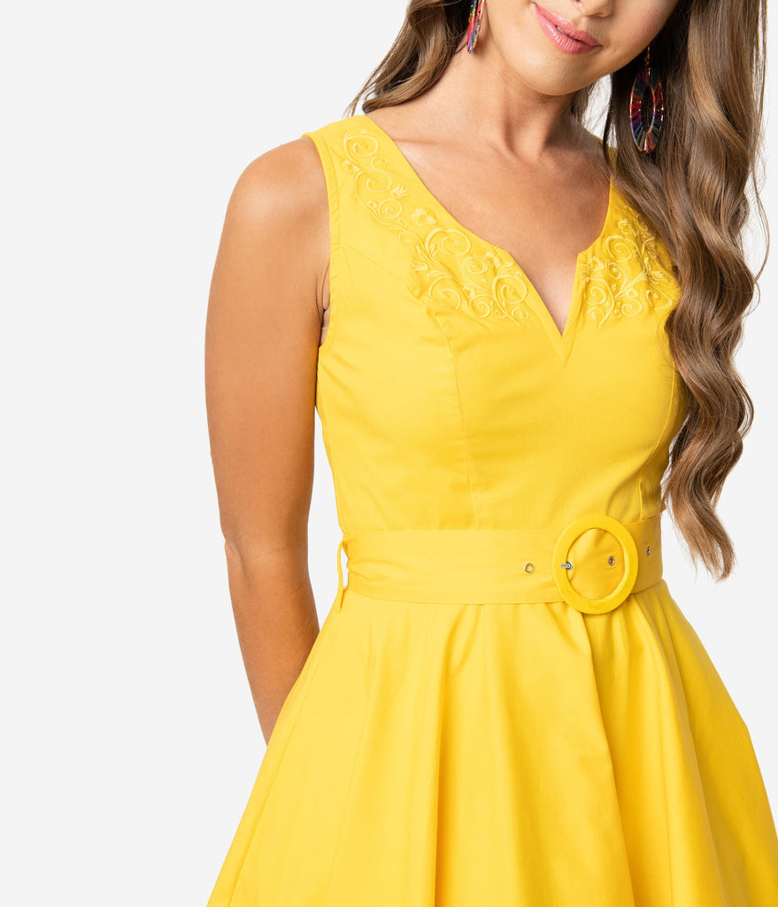 Vintage Style Yellow Sleeveless Samantha Swing Dress