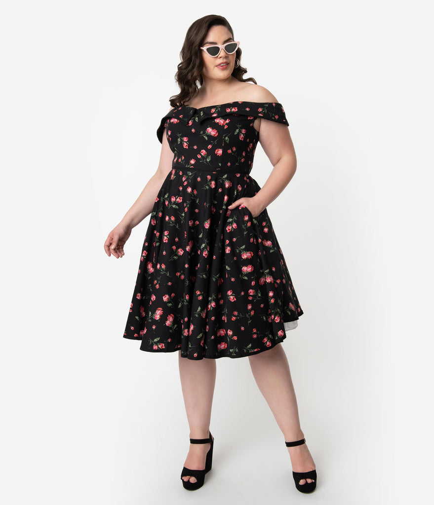 Plus Size 1950s Style Black & Pink Floral Print Cotton Off Shoulder ...