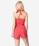 Red & White Floral Print Cotton Stretch Halter Arlene Playsuit