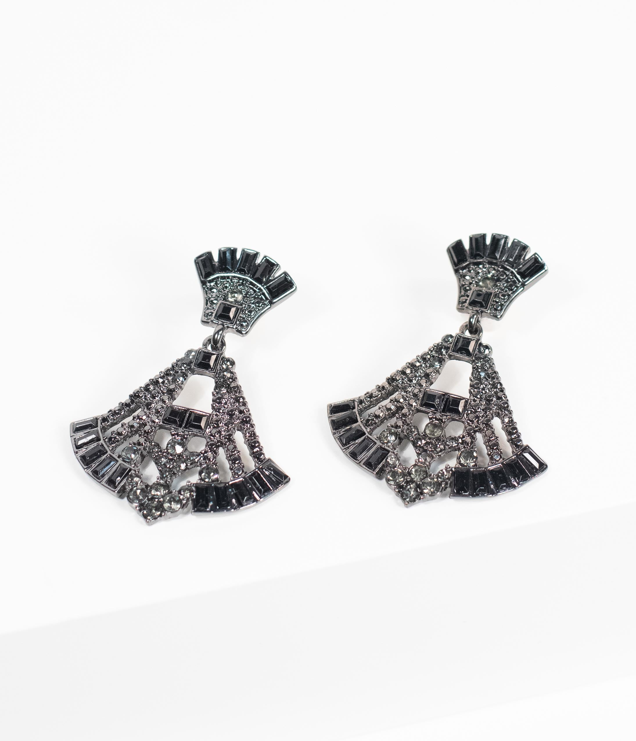 1920s Gatsby Jewelry- Flapper Earrings, Necklaces, Bracelets Deco Style Black Rhinestone Drop Fan Earrings $26.00 AT vintagedancer.com