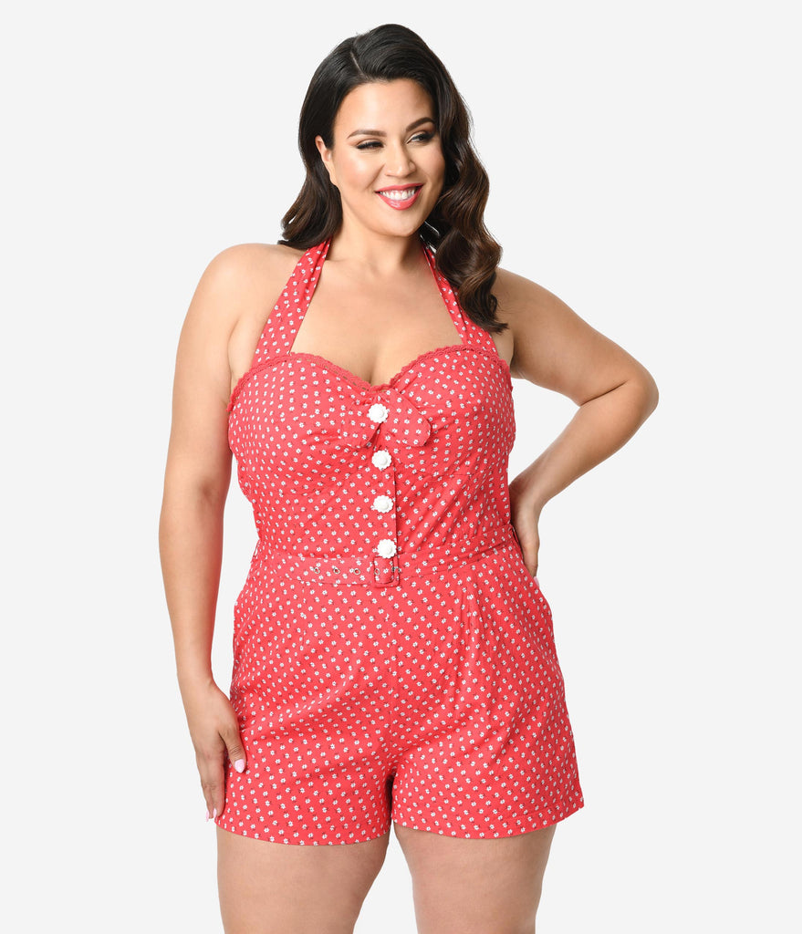 Plus Size Red & White Floral Print Cotton Stretch Halter Arlene Playsuit