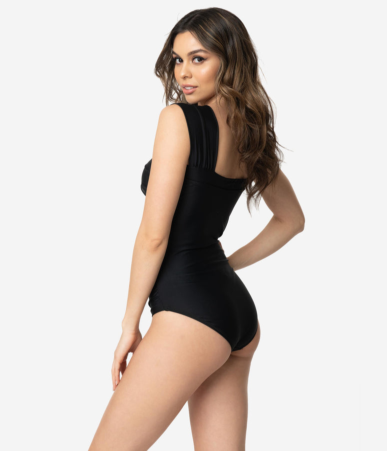 e7f9db41aa Vintage Style Black Wide Ruched Shoulders One Piece Swimsuit. Quick View