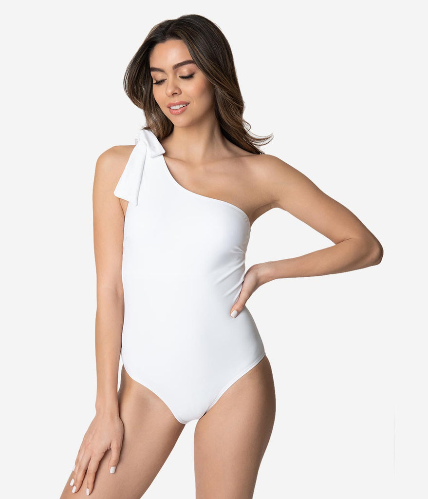 White One Shoulder Bow One Piece Swimsuit