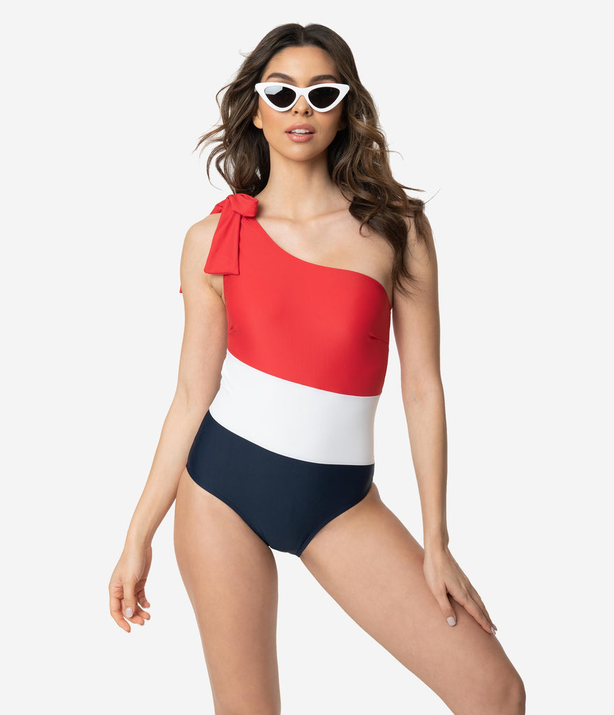 Red White & Navy One Shoulder Bow One Piece Swimsuit