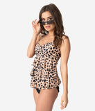 Vintage Style Cheetah Print Tiered Ruffle One Piece Swimsuit