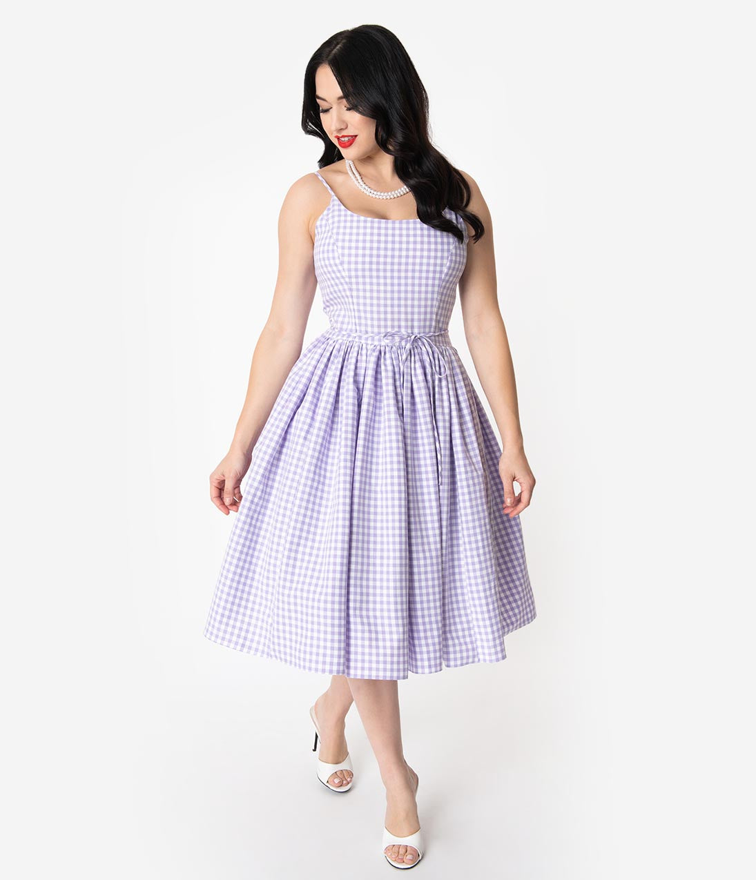 Fifties Dresses : 1950s Style Swing to Wiggle Dresses Bernie Dexter 1950S Lavender  White Gingham Kaelyn Swing Dress $152.00 AT vintagedancer.com