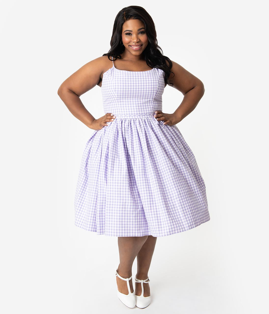 Plus Size Swing-Skirt Spaghetti Strap Natural Waistline Darts Vintage Fitted Hidden Side Zipper Gathered Pocketed Checkered Gingham Print Cotton Party Dress