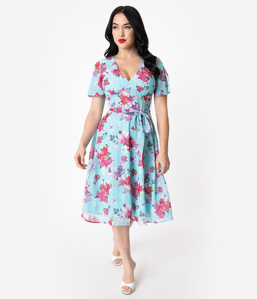 8691eff86af5 Hell Bunny 1950s Light Blue & Pink Floral Chiffon Primavera Midi Dress –  Unique Vintage