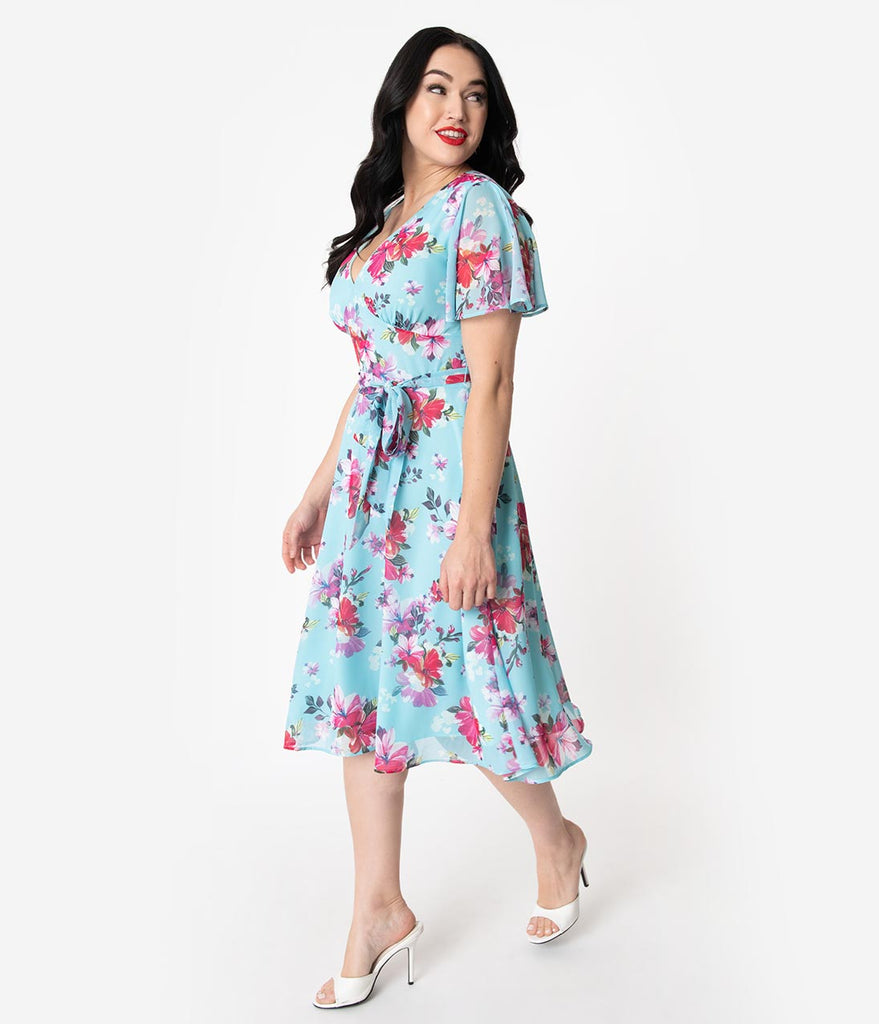 Hell Bunny 1950s Light Blue Amp Pink Floral Chiffon