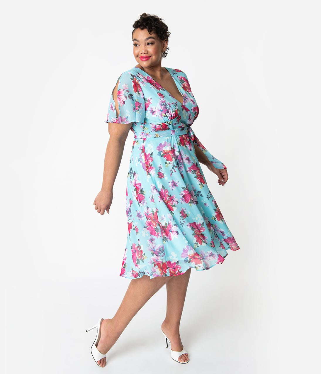 1950s Fashion History: Women's Clothing Hell Bunny Plus Size 1950S Light Blue  Pink Floral Chiffon Primavera Midi Dress $88.00 AT vintagedancer.com