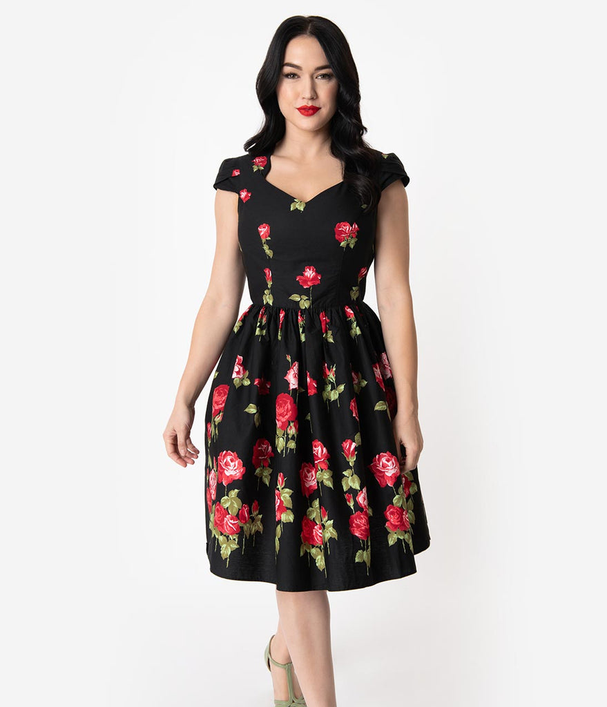 Hell Bunny 1950s Black & Red Rose Print Cap Sleeve Antonia Flare Dress