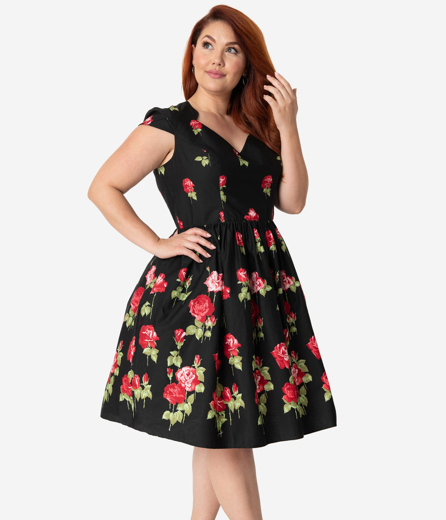Hell Bunny Plus Size 1950s Black & Red Rose Print Cap Sleeve Antonia Flare Dress