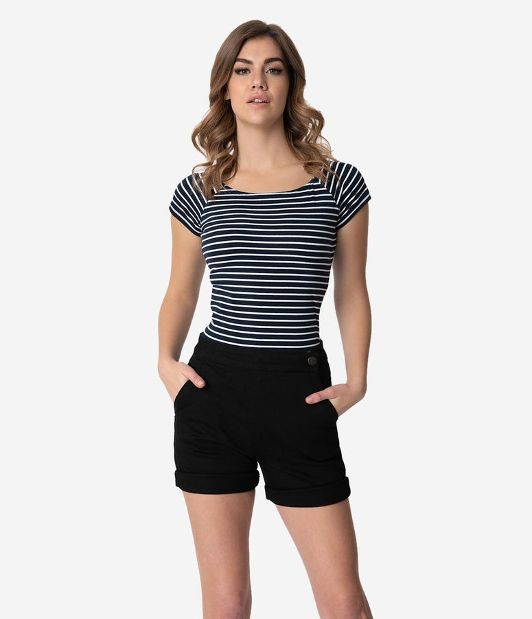 Hell Bunny Navy & White Stripe Cotton Short Sleeve Verity Top