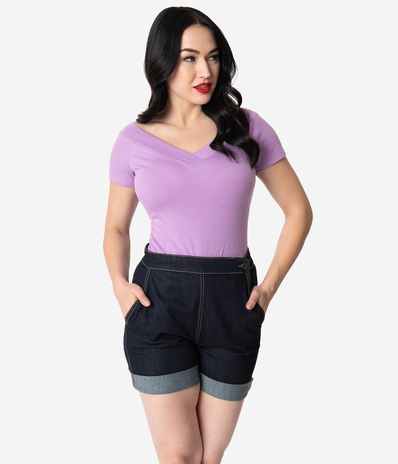 Hell Bunny 1950s Lavender Purple Cotton Short Sleeve Alex Top