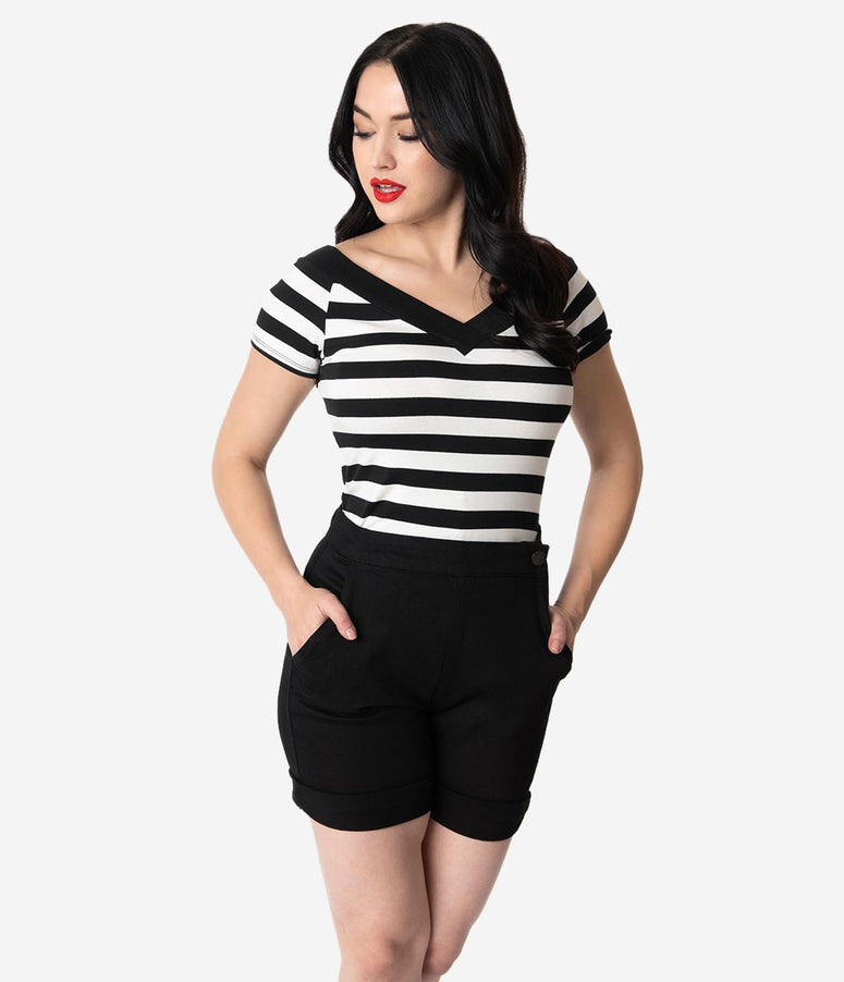 Hell Bunny 1950s Black & White Stripe Cotton Short Sleeve Caitlin Top
