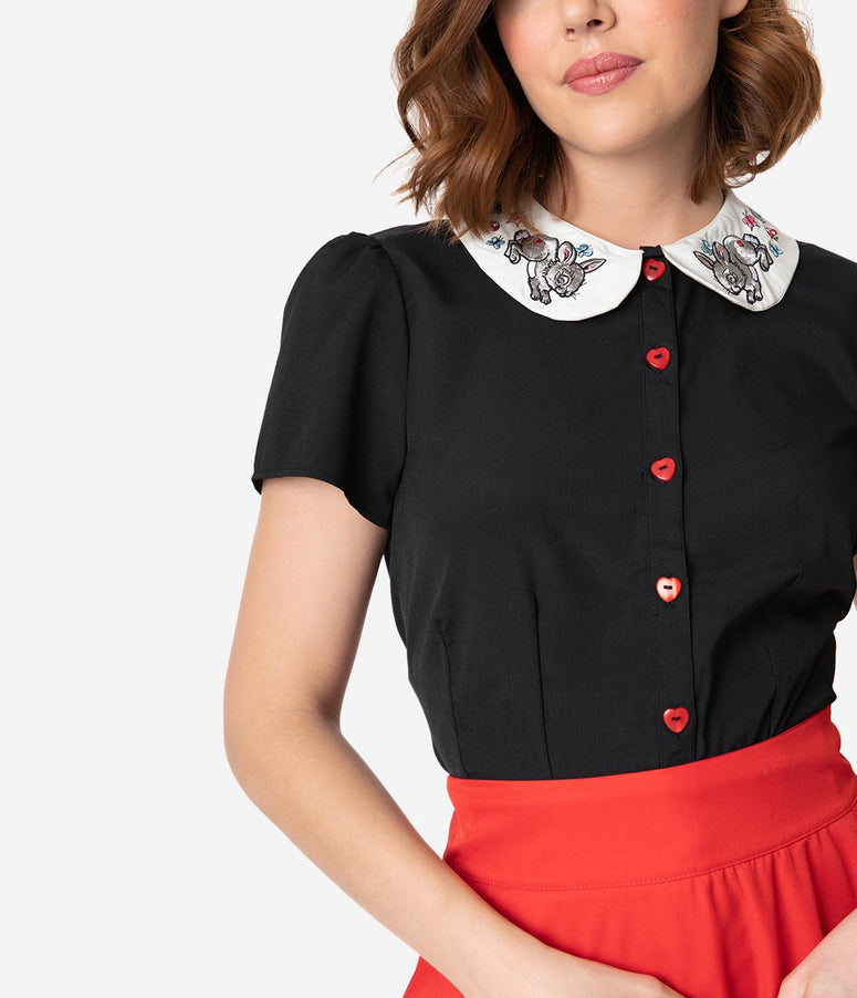 Hell Bunny 1950s Black Crepe Bunny Collar Short Sleeve Thumper Blouse
