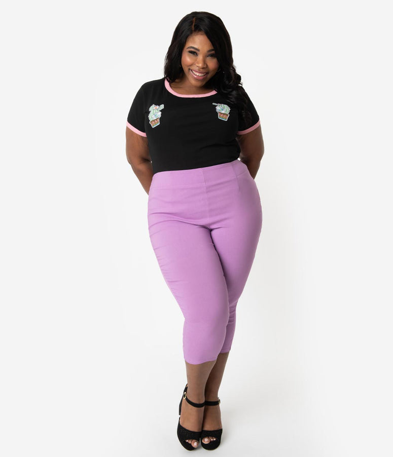 60db3a763fc Hell Bunny Plus Size Retro Style Lavender Purple Stretch High Waist Tina  Capri Pants