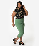 Hell Bunny Plus Size Retro Style Moss Green Stretch High Waist Tina Capri Pants