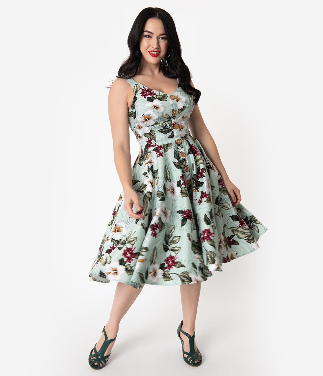 02d86f15cb1b New Fifties Dresses | 50s Inspired Dresses Hell Bunny 1950S Style Mint  Floral Print Tahiti Swing