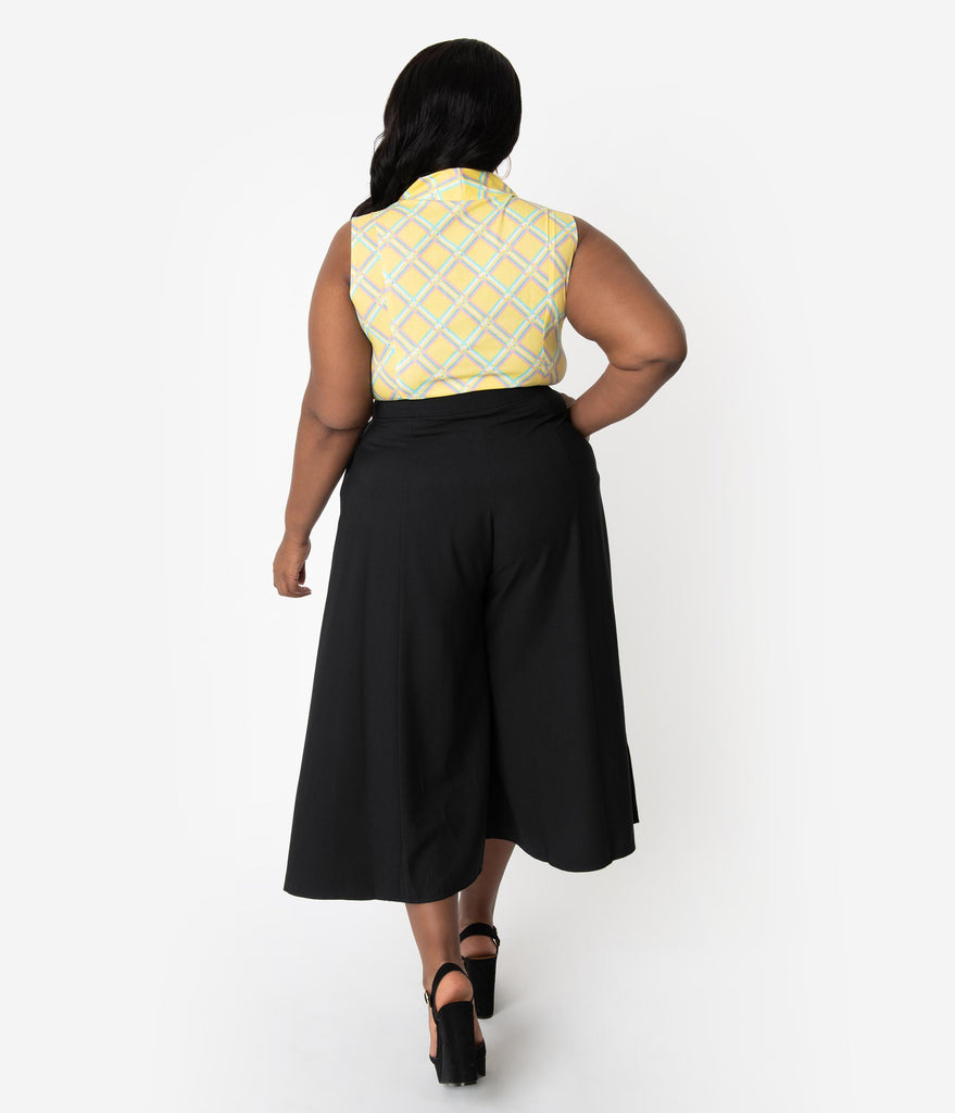 Hell Bunny Plus Size 1950s Style Black High Waist Nautical Murphy Culottes