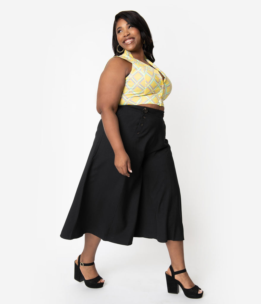 78c40561386c2 ... Hell Bunny Plus Size 1950s Style Black High Waist Nautical Murphy  Culottes ...