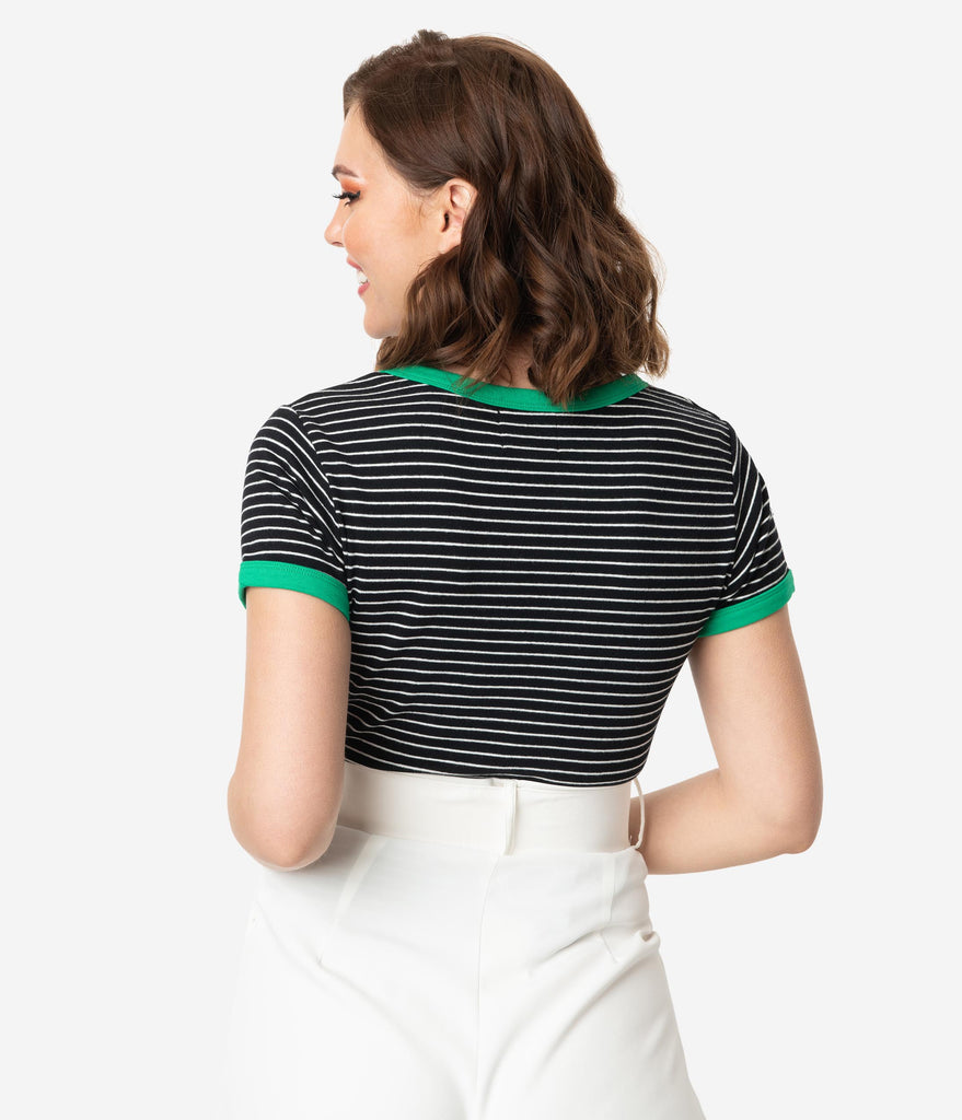 Hell Bunny Black & White Stripe Rainbow Patch Short Sleeve Cotton Knit Top