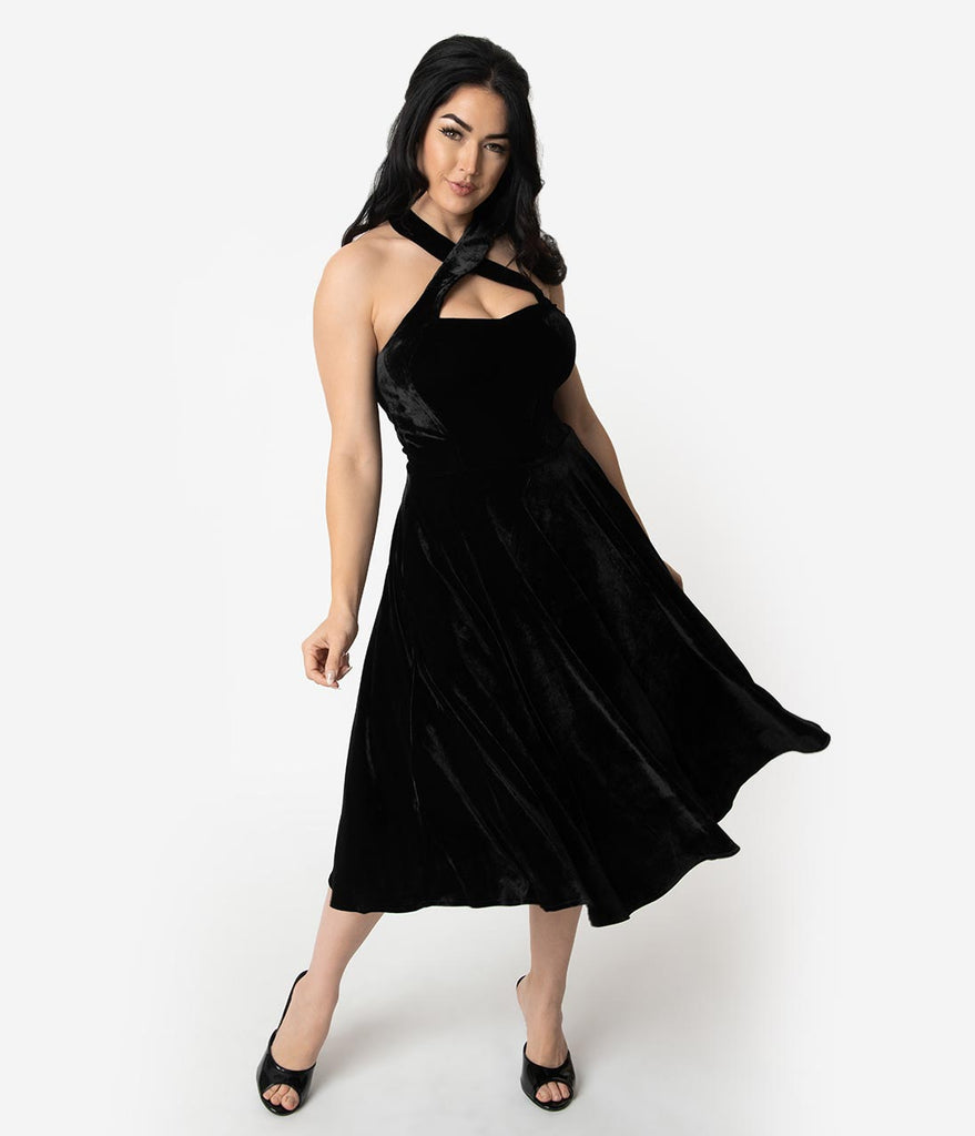 Unique Vintage 1950s Style Black Velvet Rita Halter Flare Dress