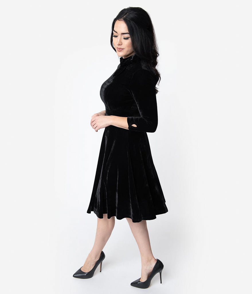Unique Vintage Black Velvet Three-Quarter Sleeved Parker Flare Dress