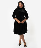 Unique Vintage Plus Size Black Velvet Three-Quarter Sleeved Parker Flare Dress