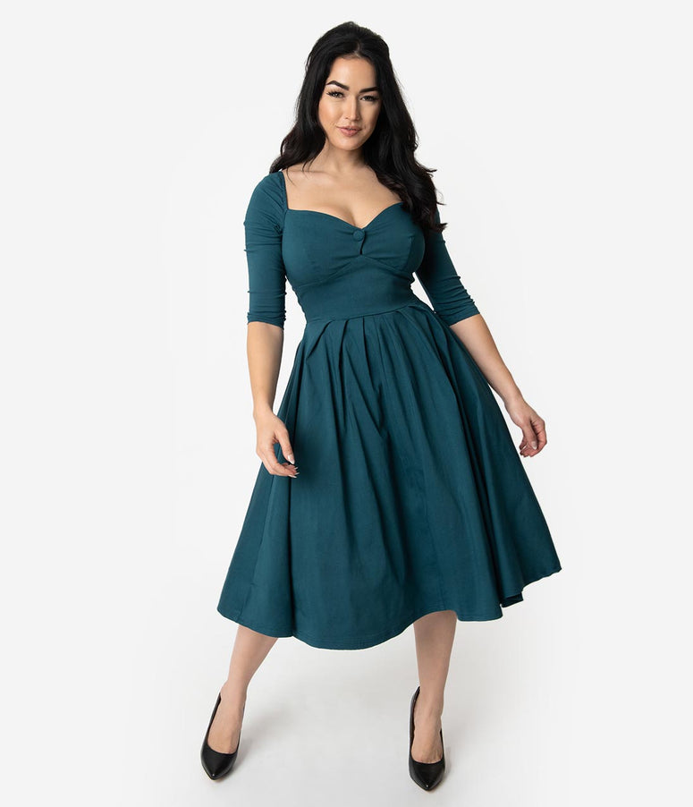 Unique Vintage 1950s Style Dark Teal Bengaline Sweetheart Lamar Swing Dress