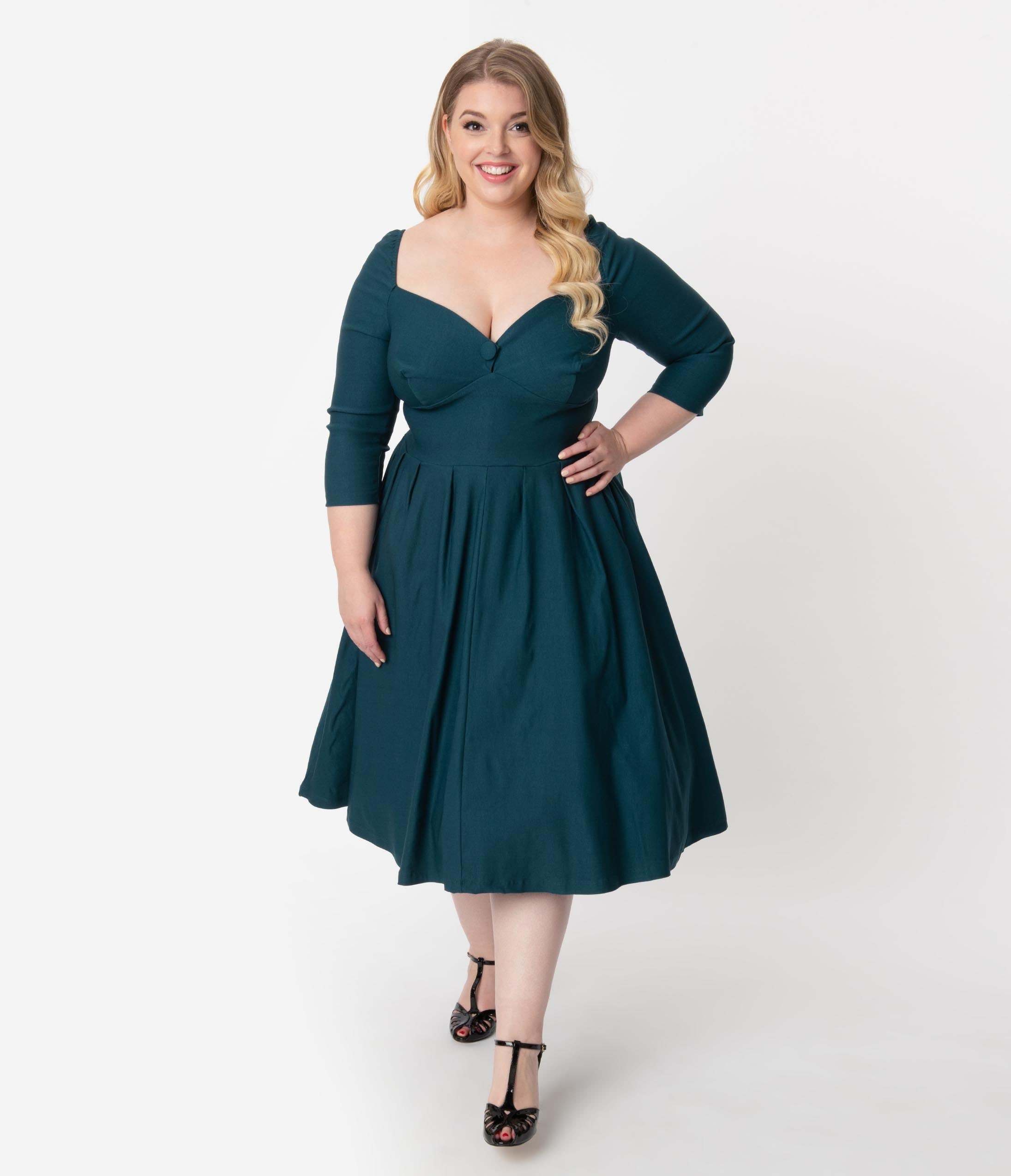 1950s Plus Size Dresses, Swing Dresses Unique Vintage Plus Size 1950S Style Dark Teal Bengaline Sweetheart Lamar Swing Dress $98.00 AT vintagedancer.com