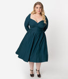 Unique Vintage Plus Size 1950s Style Dark Teal Bengaline Sweetheart Lamar Swing Dress