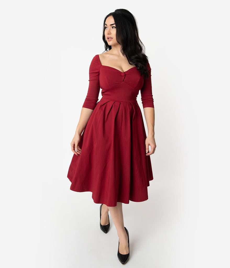 Unique Vintage 1950s Deep Red Bengaline Sweetheart Lamar Swing Dress