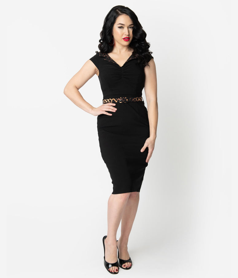 Hell Bunny 1950s Black Feline Wiggle Dress