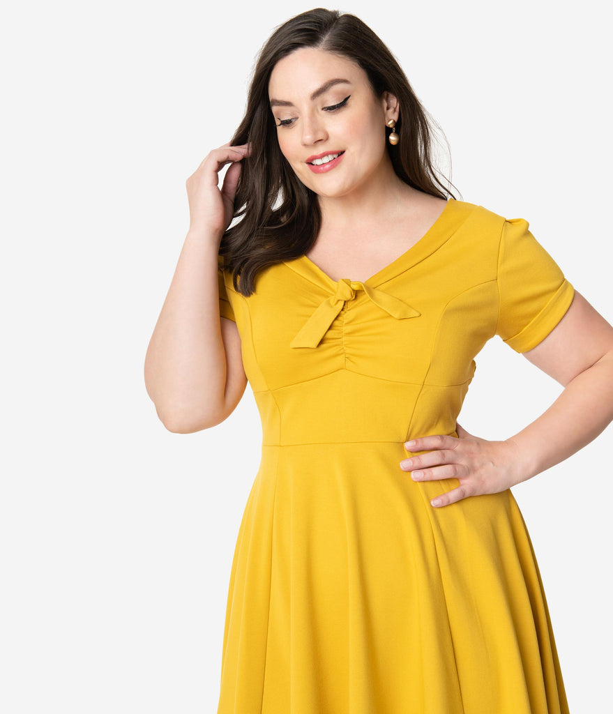 Unique Vintage Plus Size 1940s Style Mustard Knit Short Sleeve Natalie Swing Dress