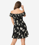 Hell Bunny Black & Ivory Tropical Print Off Shoulder Fit & Flare Dress