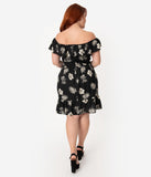 Hell Bunny Plus Size Black & Ivory Tropical Print Off Shoulder Fit & Flare Dress