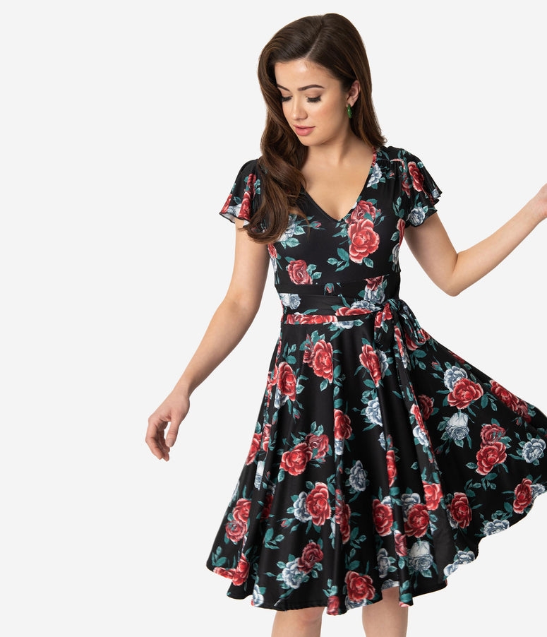 Hell Bunny 1950s Black & Red Floral Cap Sleeve Abigail Swing Dress