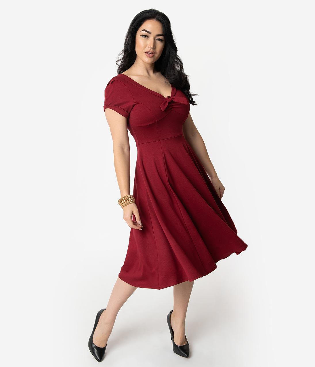 1940s Dresses | 40s Dress, Swing Dress Unique Vintage 1940S Style Burgundy Knit Short Sleeve Natalie Swing Dress $88.00 AT vintagedancer.com