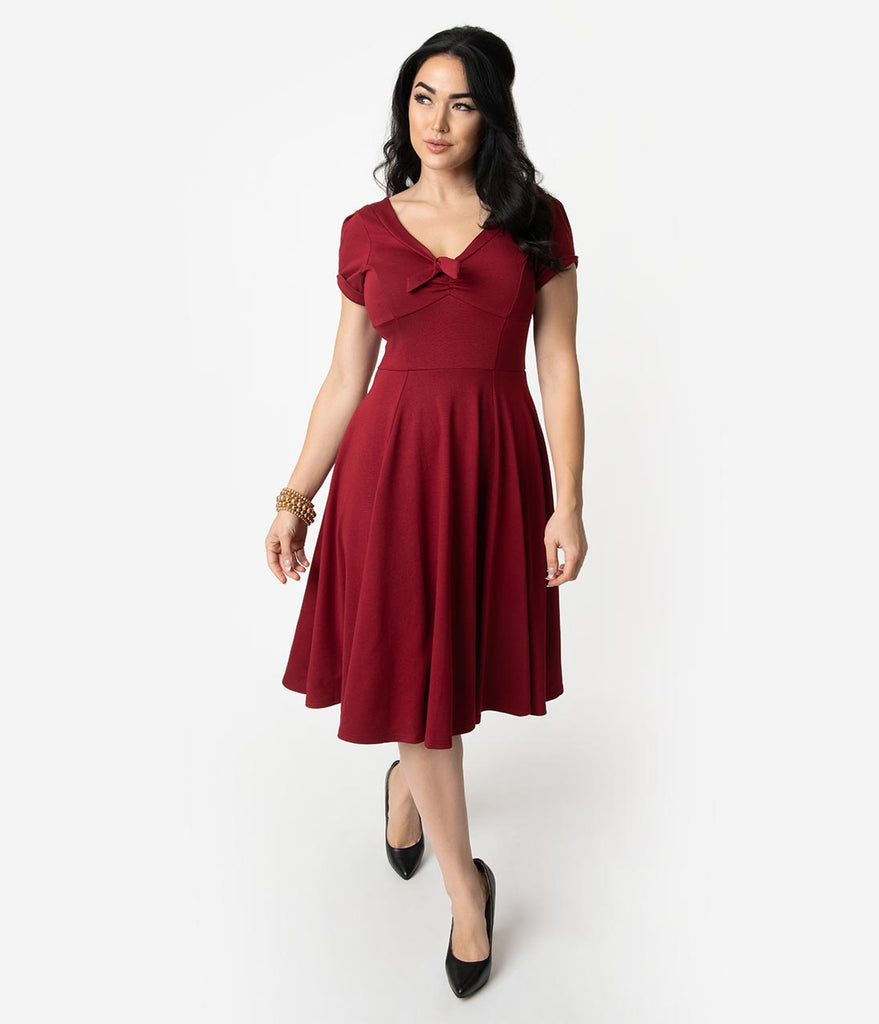 Unique Vintage 1940s Style Burgundy Knit Short Sleeve Natalie Swing Dress