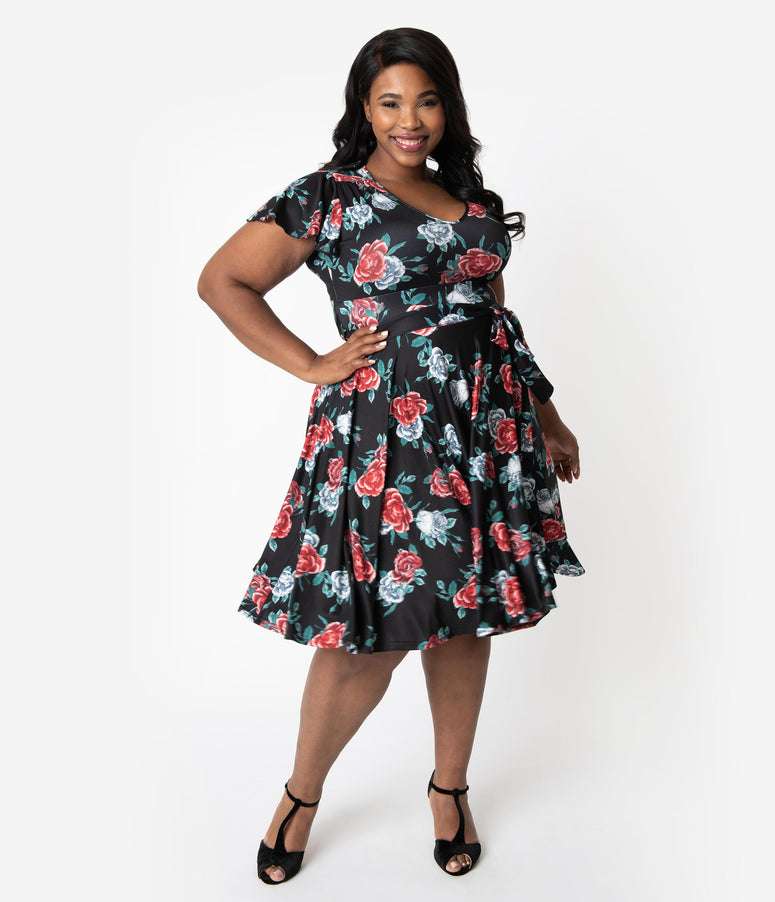 69259f78de30 Hell Bunny Plus Size 1950s Black & Red Floral Cap Sleeve Abigail Swing Dress