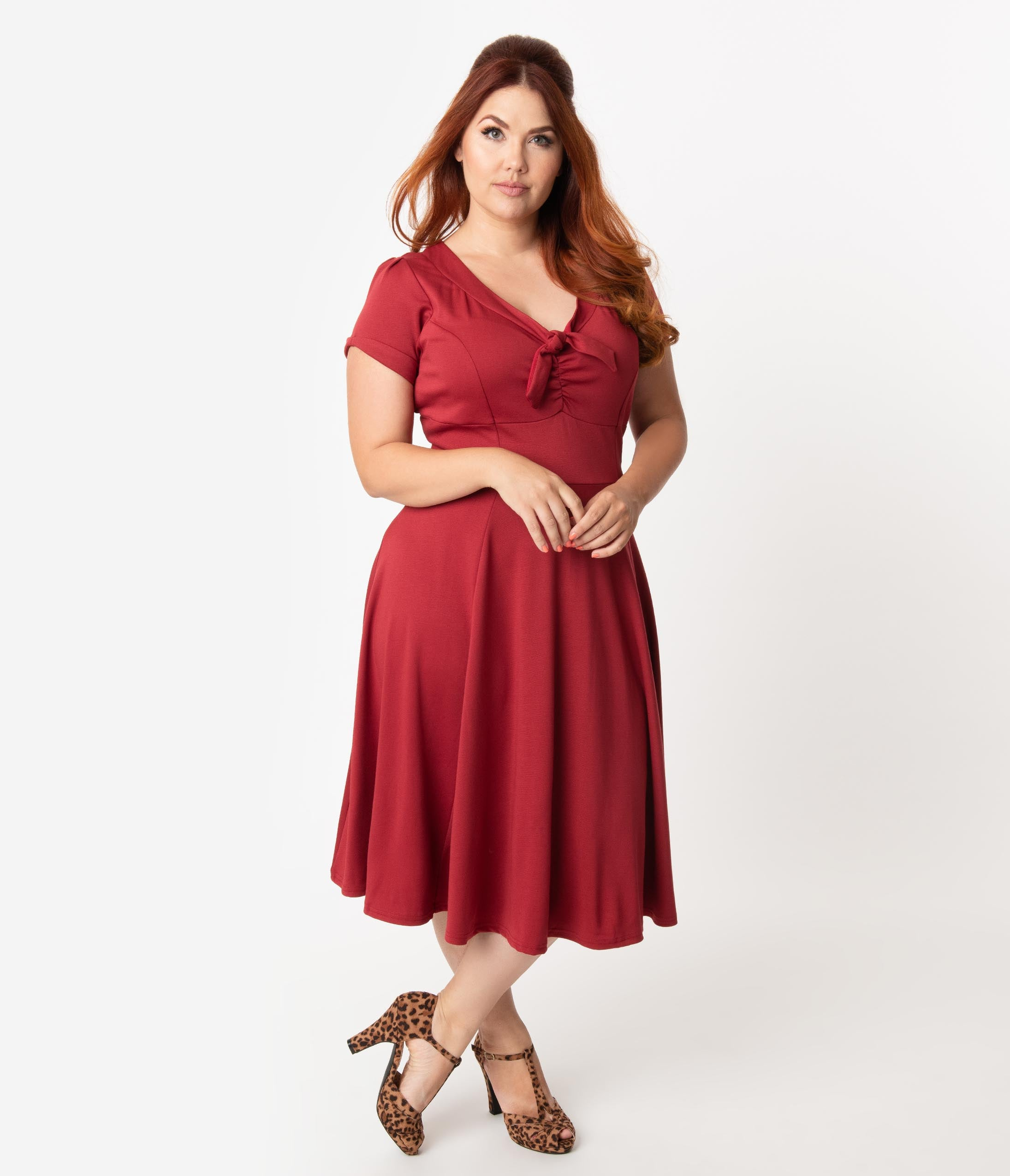 1940s Fashion Advice for Tall Women Unique Vintage Plus Size 1940S Style Burgundy Knit Short Sleeve Natalie Swing Dress $88.00 AT vintagedancer.com