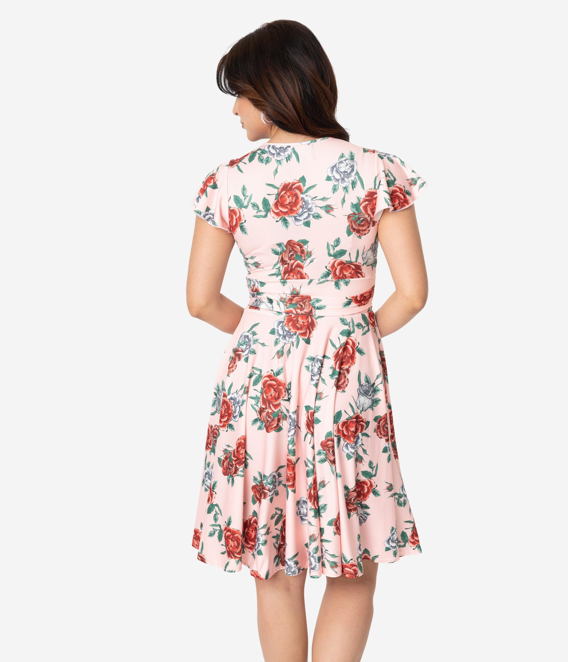 0cc919c1bcdd Hell Bunny 1950s Peach Pink   Red Floral Cap Sleeve Abigail Swing Dress