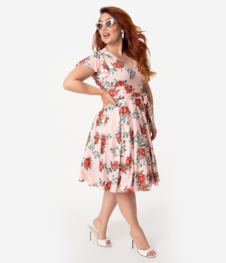 Hell Bunny Plus Size 1950s Peach Pink & Red Floral Cap Sleeve Abigail Swing Dress