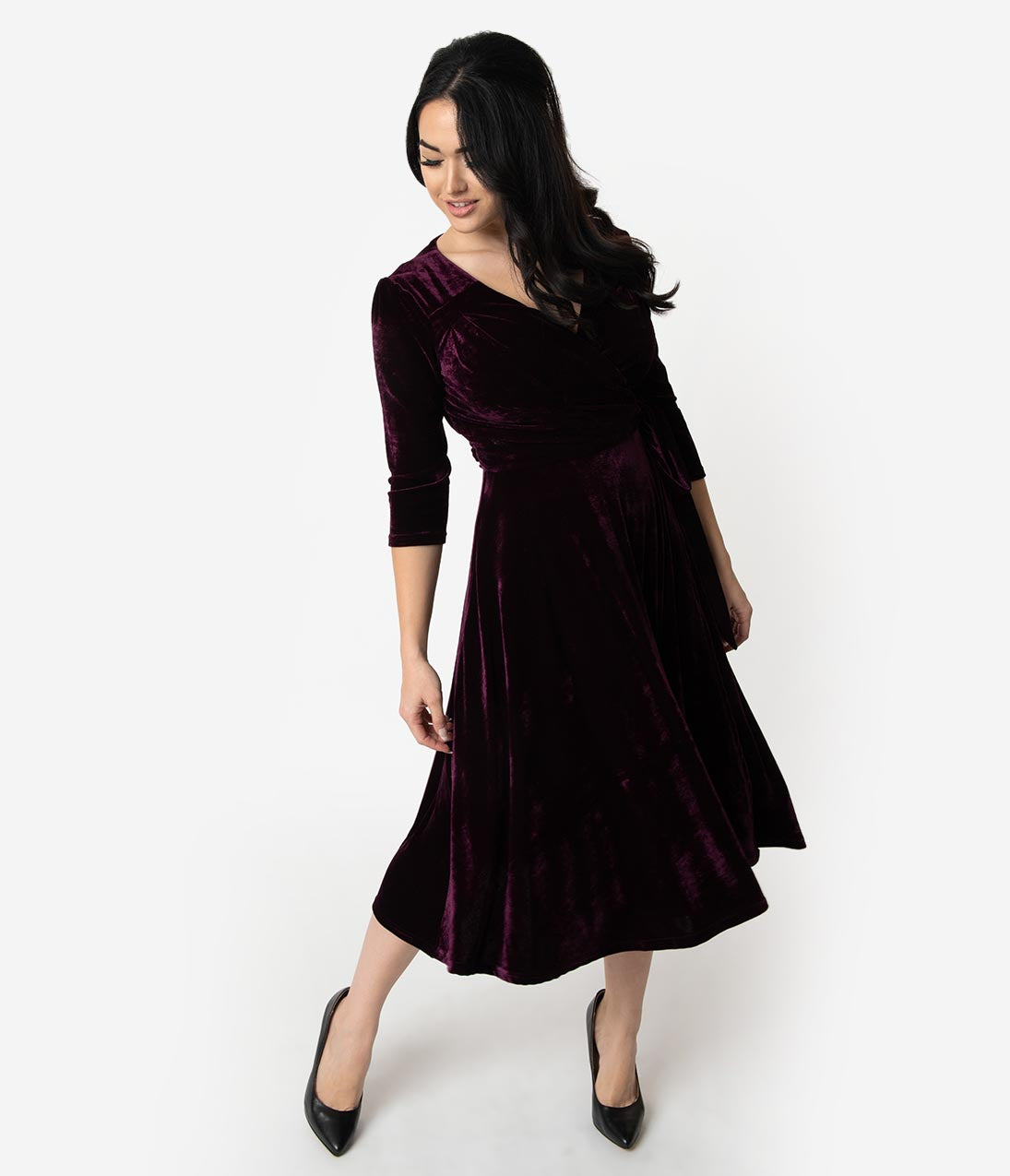 1940s Dresses | 40s Dress, Swing Dress Unique Vintage 1940S Style Eggplant Purple Velvet Kelsie Wrap Dress $98.00 AT vintagedancer.com