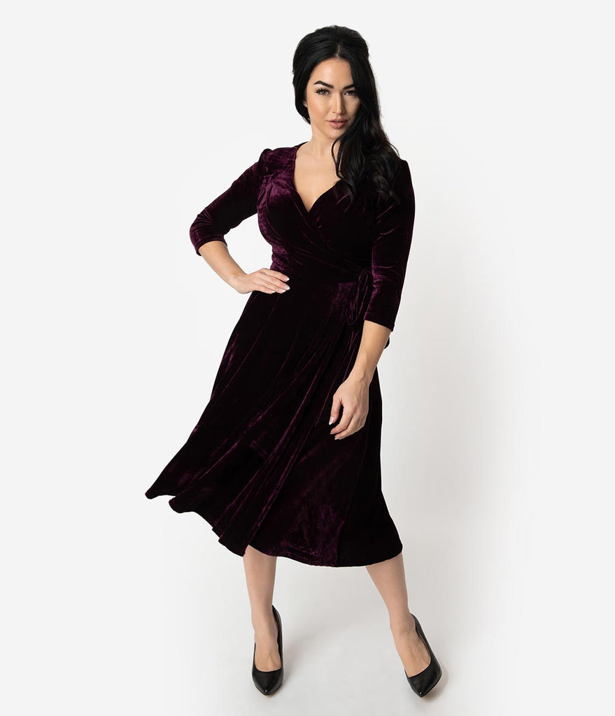 Unique Vintage 1940s Style Eggplant Purple Velvet Kelsie Wrap Dress